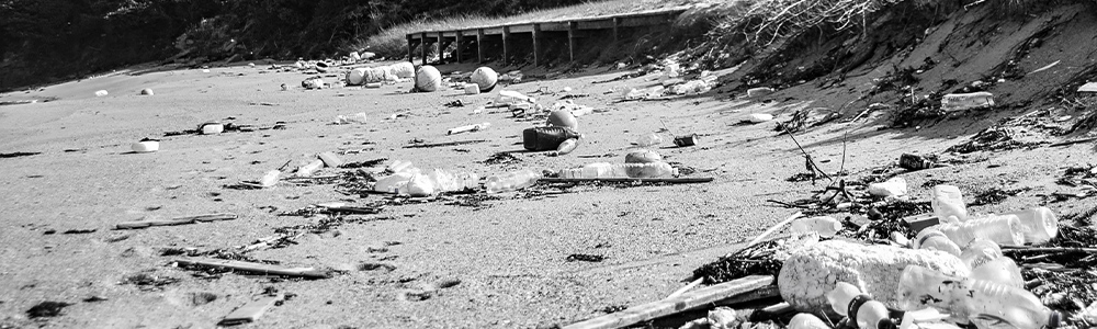 浜辺に広がるごみのイメージ