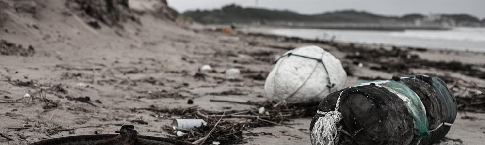 漂着ゴミで汚れた海岸の写真